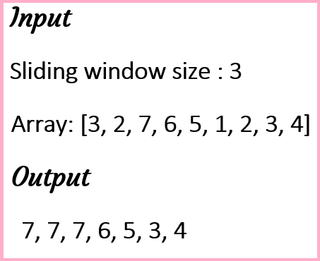 To find maximum of the numbers under Sliding Window