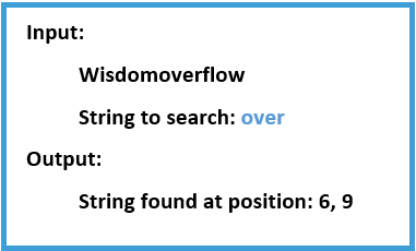 Program to find sub string in a string