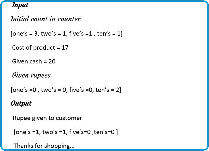 Mini Cash Counter Application program in C