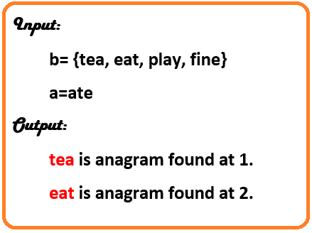To find the anagram in a string array