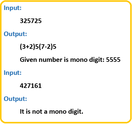 To check whether the given number is mono-digit or not